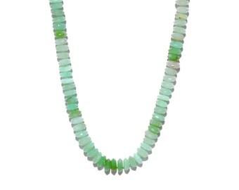 14k Pave Diamond Heart Chrysoprase Knotted Necklace