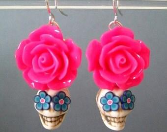 Day of the Dead Earrings ~ Sugar Skull Earrings ~ Dia de Los Muertos ~ White & Hot Pink Skull Earrings ~ Halloween ~ Calaveras ~ Tucson AZ