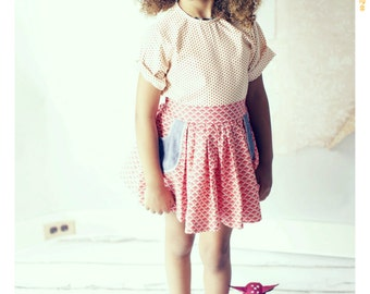 Red Floral Pocket Skirt Denim Pockets Girls High Waist Skirt with Belt Girls Clothing Baby Outfit Vintage Style Children's Clothing Cotton