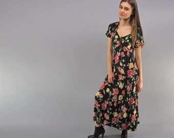 Floral 90s Dress, Bias Floral Dress, 90s Maxi Dress, Maxi Floral Dress, Summer Dress, Boho Dress  Δ size: xs / sm