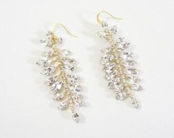 Crystal Dangle Earrings, Crystal Earrings, Long Earrings, Chandelier Earrings, Gold Earrings, Dangle Earrings, Drop Earrings, Crystal Dangle