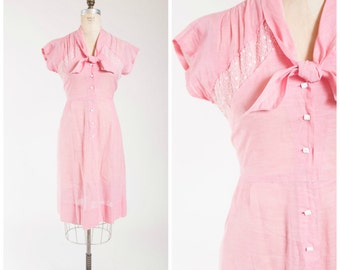 Vintage 40s Dress • Softly Powdered • Pink Cotton 1940s Day Dress with Embroidery Size Medium