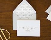 Illustrated Leaf Thank You Card w/ Envelope + Liner - A1 - Single or Set of 10