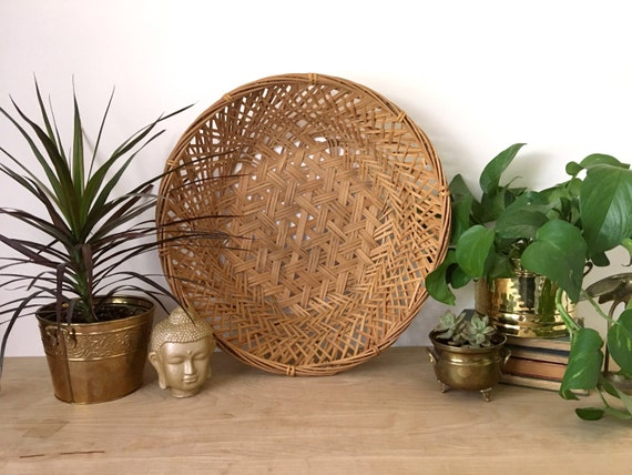 Rattan Wall Decor Round : Large bohemian round woven rattan basket wall