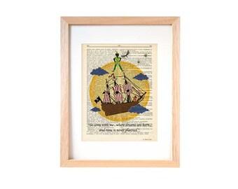 Peter Pan print-neverland print-Peter quote print-Nursery print-children wall art-Peter dictionary art-Christmas gift-by NATURA PICTA-DP099