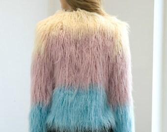 Shaggy faux mongolian fur multicoloured rainbow patchwork ombre festival jacket coat grunge 90s vintage style UK seller shag fringe pom pom