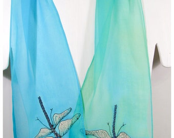 """Painted Silk scarf. 8""""x52"""" crepe. Dragonfly Silk Scarf. Hand-painted silk scarf. Dragonfly scarf. Green silk scarf. Handpainted silk scarves"""