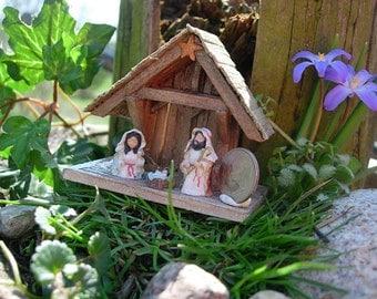 Polymer Clay Nativity Set, Miniature Christmas  Sculpts , Miniature Creche , Mini Christmas Figurines,Jesus Mary,Joseph , Christmas Gift