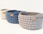 Crochet Basket / Crochet Bowl / Storage Basket / Home Decor / Catch All Dish / Decorative Basket / Dorm Storage