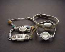 4 Wrist Watch Bands or Bracelets Without Movements in Silver or Gold Tone Metal, Wristwatch Parts Lot for Jewelry Art & Craft Supplies 03836
