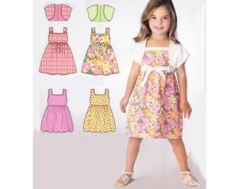 Easy to Sew Girls Summer Dress or Jumper Pattern & Bolero Shrug Simplicity 2432 Childrens Size 3,4,5,6,7,8 Square Neckline Sundress