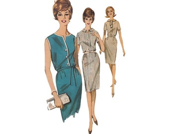 1960s Summer Sheath Dress Sewing Pattern Bust 32 Butterick 2661 Wiggle Dress with Bloused Bodice with Scarf Collar, V Neck or Rolled Collar