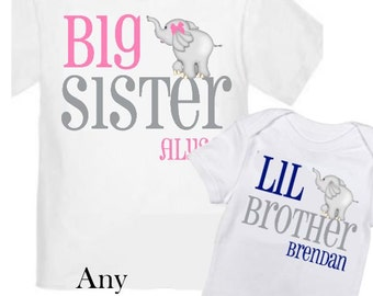 2 Big Sister and Little Brother Elephant Shirts Personalized Sibling T Shirt Set