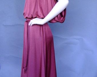 burgundy dress, 70s vintage dress, disco dress, grecian style dress