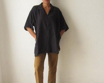 Vintage black tunic Oversized top Minimalist shirt Short sleeve womens tunic