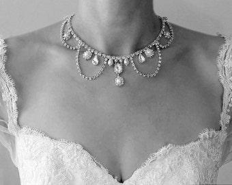 Bridal Necklace Rhinestones Crystals Audrey Hepburn Vintage style Necklace Rhinestone Pearls Wedding OOAK Necklace Wedding Jewelry Necklace
