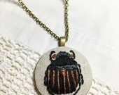 Bohemian Necklace. Beetle Embroidery Pendant. Boho Jewelry. Long Pendant Necklace. Black and Copper Fabric Pendant. Hand Embroidered.