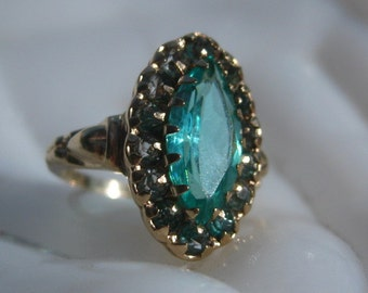 size 8 Vintage Art Deco  10K Gold Navette Paraiba Teal Green Open Back Paste Ring