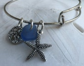 Beach jewelry, Ocean jewelry, Beach bracelet, Maine Atlantic blue sea glass adjustable charm bracelet, beach themed, add a charm bracelet
