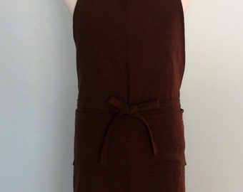 Men's Apron with Pockets in Brown Linen, Unisex Chef Apron, Potting Soil Brown Linen, Extra Wide Apron, Adjustable, No Neck Ties