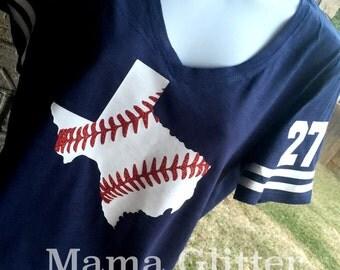 V- Neck Texas Laces Baseball T-Shirt, Baseball mom shirt, Baseball Shirt, Baseball Mom, Baseball Mom Tee, Texas Baseball Shirt