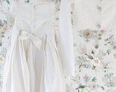 Cropped Vintage Blouse. -SM.  1950's Bridal Jacket. // Beaded Trim. White Satin Silk.