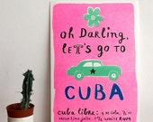 Awesome CUBA Pink Art Print - Oh Darling Let's go to Cuba - Cuba Poster - Riso Print - Cuba Wall Art - A5 format