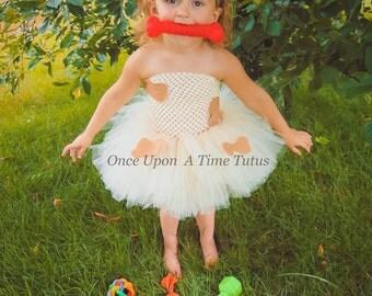 Ivory and Tan Puppy Dog Tutu Dress - Newborn 3 6 9 12 18 24 Months 2T 3T 4 5 6 - Spot Doggy Cute Tiny Baby Animal Halloween Costume