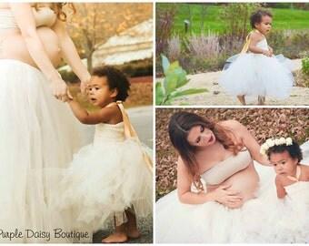 Maternity Tutu, Women's Tulle Skirt, Maternity Photo Shoot Tulle Tutu Skirt, Ivory Tutu Skirt, Floor Length Tulle Skirt - Maternity Pictures