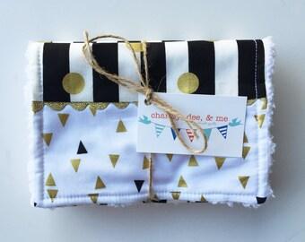 SHOP CLOSING SALE Gold Black White Stipes and Triangles Burp Cloths, Shower Gift Metallic Glitter Burpees, Girl Newborn Gift, Dots Neutral