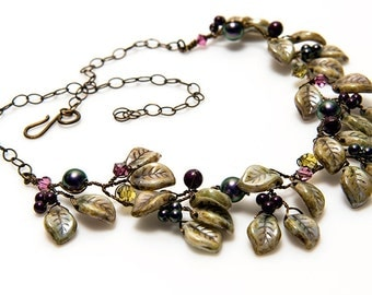 Brown Purple Rustic Vine Necklace, Beaded Necklace with a Floral Design, Fairy Necklace, Leaf Statement Necklace, Woodland Jewelry