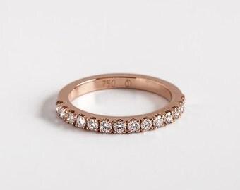 Diamond Engagement Band | Pave Diamonds Ring, Diamonds Stackable Ring, Diamond Wedding Band 18K Gold, Diamonds Eternity Ring Band, Berman