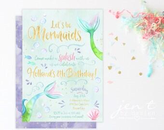 Watercolor Mermaid Invitations - Purple and Gold