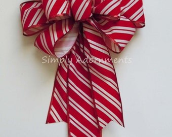 Christmas Red Velvet Candy Cane Bow Indoor / Outdoor Wreath Bow, Christmas Mailbox Bow Red White Stripes Christmas Bow Candy Cane Gift Bow