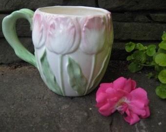 Fitz and Floyd Pink Tulip Coffee/Tea Mug - Fitz and Floyd Pink Tulip Mug - Fitz and Floyd 1980's Tulip Mug