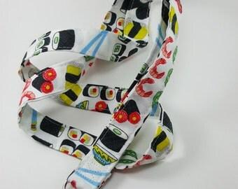 Cute Sushi Lanyard - Fabric Lanyard - Geekery Lanyard - Geek Fashion - Teacher Gifts - Sushi Badge Holder - Shrimp - Sushi Roll - Funny