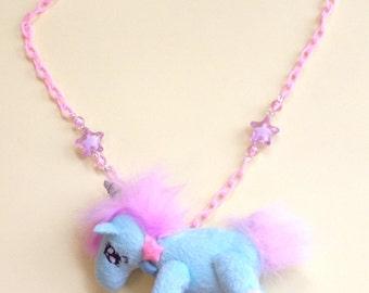 Magic Friends - Pastel Minty Blue Plush Unicorn Necklace