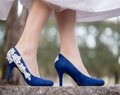 Blue Wedding Shoes, Cobalt Bridal Heels, Blue Heels, Low Heels, Wedding Heels, Bridal Shoes, Blue Suede Heels with Ivory Lace. US Size 8.5