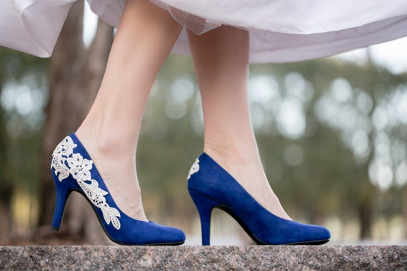 Cobalt Blue Heels with Ivory Lace