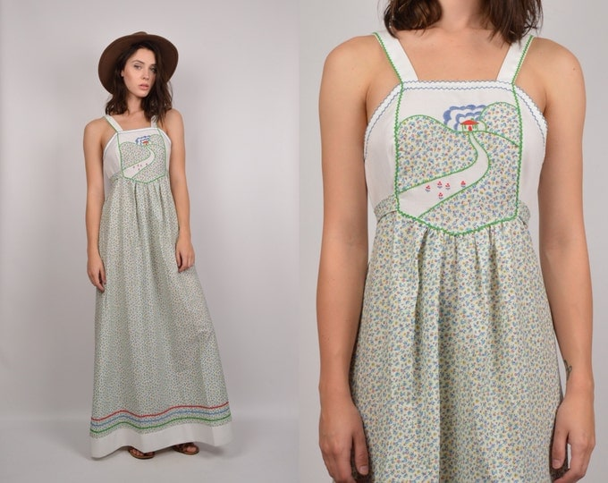 70's Calico Maxi Dress Empire Waist bohemian hippie