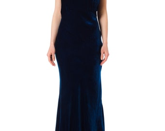 1930s Bias Cut Silk Velvet Blue Backless Gown SIZE: XS/S, 2-4