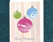 Christmas Card Baubles Modern Recycled