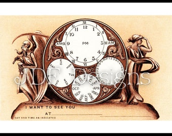 Instant Digital Download, Vintage Edwardian Era Graphic, Mantle Clock Appointment Date Card, Antique Print Printable Steampunk Calendar