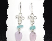 Lavender Aqua Sea Glass Dangle Earrings - Sterling Silver - Sea Glass Jewelry