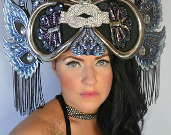 Elaborate Selena Wing unique headdress tiara crown fringe headpiece fascinator hat Kokoshnik headdress fashion accessory