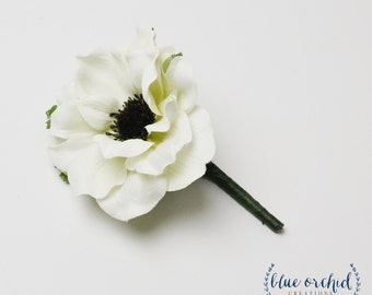 Boutonniere - White Anemone Boutonniere, White and Black, Anemone, Silk Boutonniere, Button Hole, Bout, Groom, Groomsmen, Father