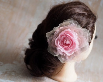 Party Hair Accessory, Pink Hair Flower Rose, Pink Wedding Hair Clip, Pink Flower Fascinator, Blush Bridal Hair Flower, Blush Hair Clip