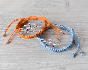 Matching couple bracelets Olive branch bracelet set His and her bracelet Couples set Friendship bracelet Macrame bracelet - set of 4