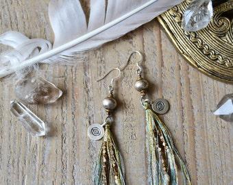 Cosmic Eye earrings - silver evil eye earrings - bohemian ethnic tribal boho jewelry - eye jewelry