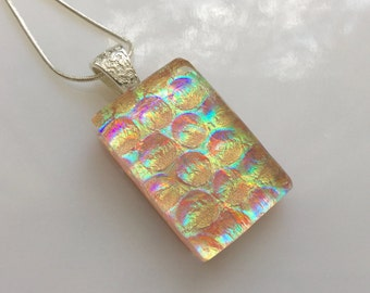 Dichroic Glass Prism Pendant, Fused Glass Jewelry, Gold Purple Aqua Necklace